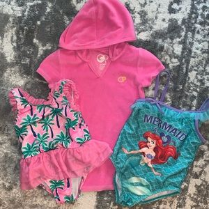 Toddler swimming suit lot 3T/4 3 pieces coverup